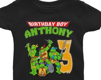 Teenage Mutant Ninja Turtles TMNT Personalized Custom Birthday Bday Kid Shirt