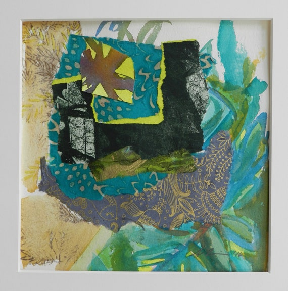Original Abstract Etching collage with Leaf