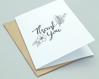 Hand drawn / Handmade Thank You Greetings Card