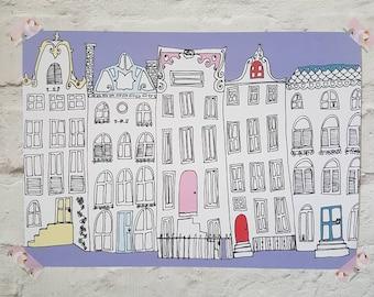 Amsterdam illustrative houses print