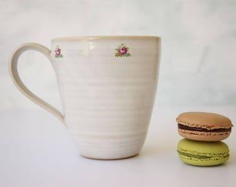 Ceramic mug, large mug, vintage, white, tea mug, kitchenware, coffee lovers gift, mug, big mug, 16 oz mug, housewarming gift, hostess gift