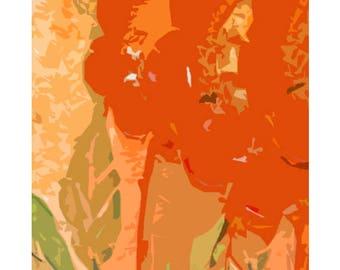 Art Prints Floral Orange - original artwork and graphic design