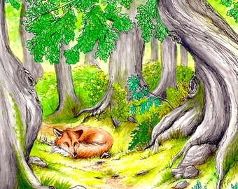 Fox Art, Fox in the Woods Art Print, 5x7 Fox Art Print, Fox Illustration Print, Fox Art, Fox Illustration