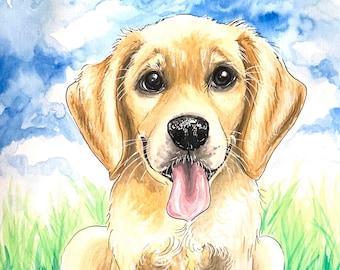 Pet Portrait, Custom Pet Portrait, Animal Portrait, Custom Pet Illustration,  8X10 Original Pet Illustration
