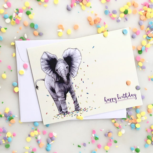 Elephant Birthday Card Elephant Happy Birthday Card Animal Etsy