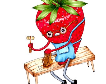 Strawberry Cobbler Print, Food Art Print, Dessert Art Print, Food Illustration, Food Art 5x7 Food Art Print