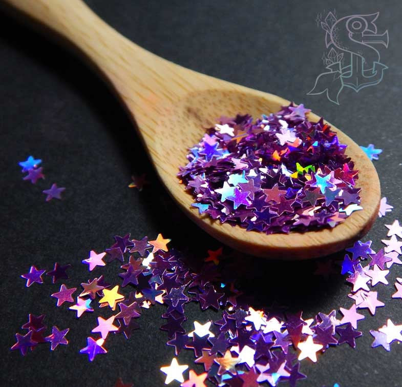 Nail Art Supplies New Zealand: Rainbow Lavender Star Shape Holographic Glitter Nail Art