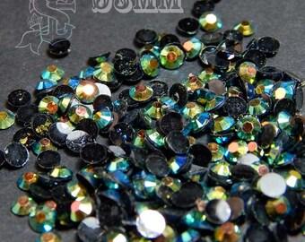 AB black resin flatback faceted strass 3mm 1 Gr iridescent nailart, nail gel, nail acrylic, uv resin crafts.