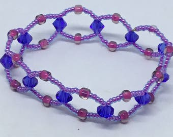 Enchanting Coral Reef Pink, Purple, and Blue Braided Stretch Bracelet – Swarovski Crystals and Glass Beads