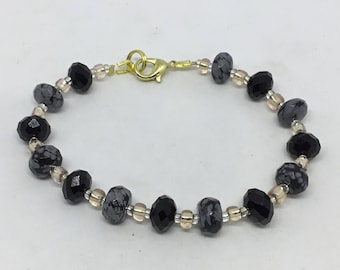 Black, Gray, Champagne Bracelet.  Simple design - beautiful contrast