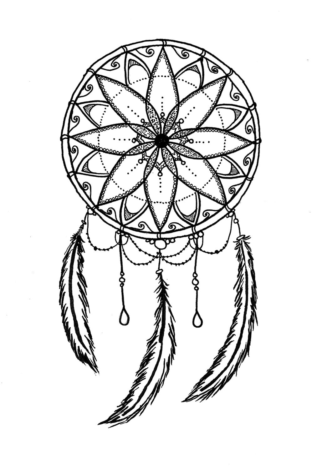 photograph relating to Legend of the Dreamcatcher Printable identify Black and White Dreamcatcher Printable Coloring Website page