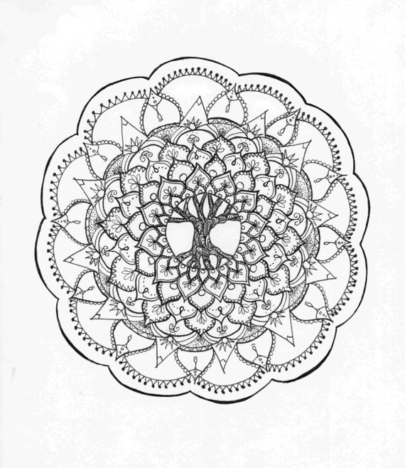 Tree Of Life Zentangle Mandala Adult Coloring Page