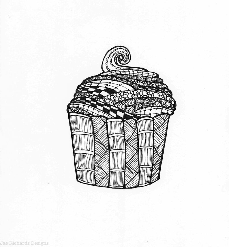 image about Cupcake Printable Coloring Pages referred to as Black and White Cupcake Printable Coloring Web site