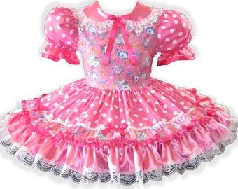 8c9475628 Carla CUSTOM Fit Pink Satin Polka Dots Adult Little Girl Sissy Dress LEANNE