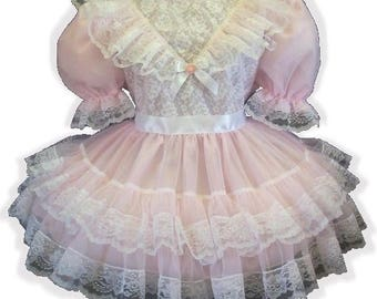 """/""""Audrey/"""" CUSTOM FIT Green Ruffles PINK Ribbon Bows Adult Baby Sissy Dress LEANNE"""