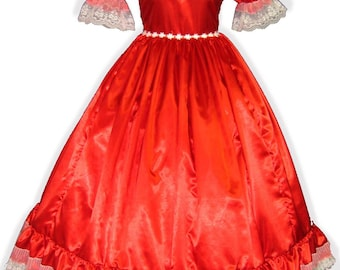 Crystal Custom Fit RED Satin Adult Sissy Dress up GOWN LEANNE
