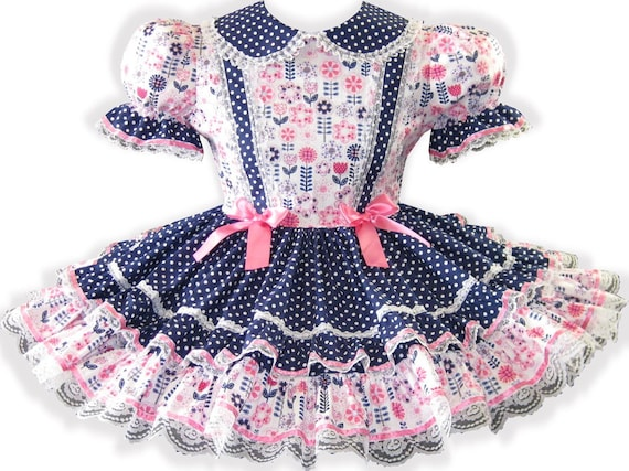 Dress Dots Girl Fit Polka CUSTOM Melissa Little Adult LEANNE Sissy Flower Pink 8XwnFxvq
