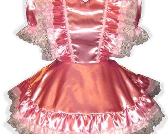 ANNETTE Custom Fit Satin Ruffles Adult Baby Little Girl Sissy Dress LEANNE
