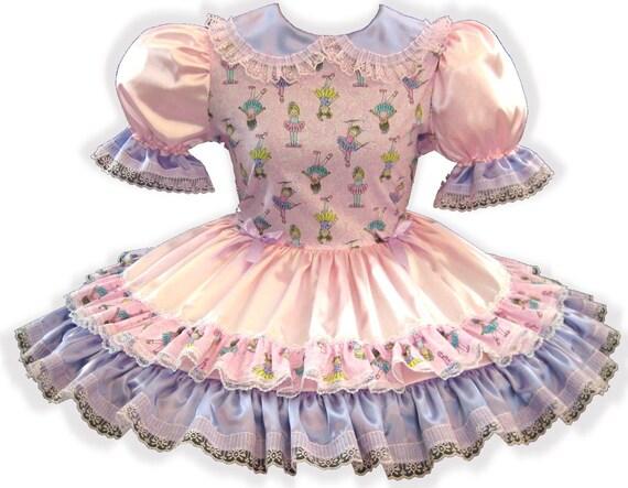"/""Latessa/"" CUSTOM Fit MINT SATIN Floral Adult Little Girl Sissy Dress by LEANNE"