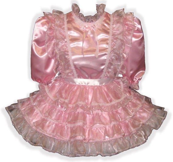 "/""Angelina/"" Custom Fit PINK SATIN Brocade Adult Little Girl Sissy Dress LEANNE"