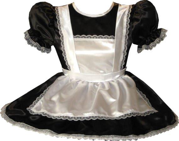 "/""Victoria/"" Custom Fit Lacy SATIN RUFFLES GOWN Adult LG Sissy Dress LEANNE"