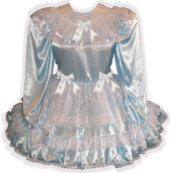 "/""Cynthia/"" Custom Fit Blue Satin Adult LG Baby Sissy Dress LEANNE"