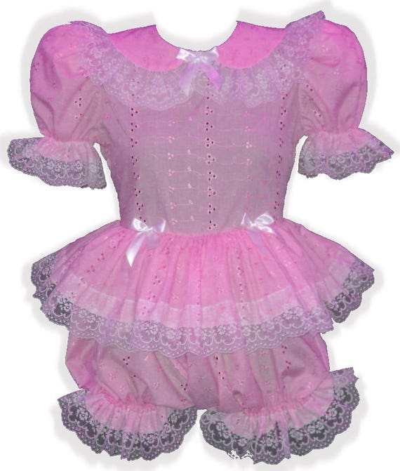 "/""Michelle/"" Custom Fit PINK SATIN Organza Ruffle Adult LG Baby Sissy Dress LEANNE"