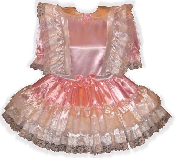 Lace Adult Ruffles amp; Sissy LG Custom LEANNE Fit Lisa Dress SATIN Baby WnwqxpICFH