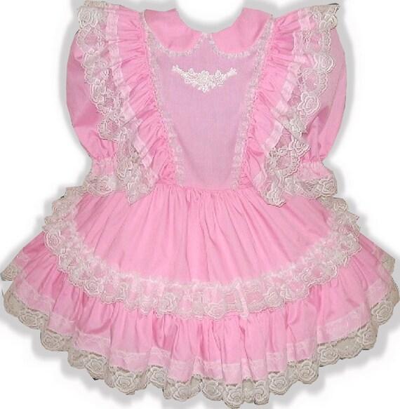 Dress Sissy RUFFLES Custom LG Fit Linda Baby Lacy Adult Pink LEANNE zpBSSTAq