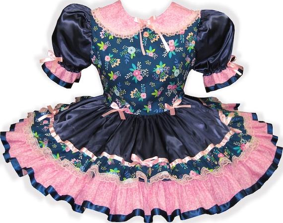 "/""Layla/"" Custom Fit PINK Satin Sparkle Taffeta Adult Baby LG Sissy Dress LEANNE"