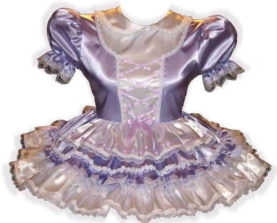 "/""Leona/"" Custom Fit HOT PINK /& White Satin Adult Baby LG Sissy Dress LEANNE"