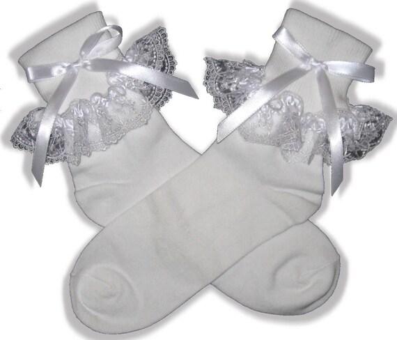 Pretty White Lace Ribbon Socks for Adult Little Girl Sissy Dress up LEANNE