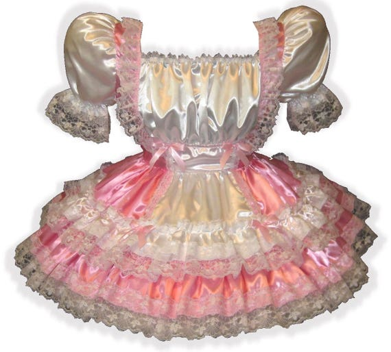 "/""Rebecca/"" Custom Fit SATIN HOLIDAY Adult LG Baby Sissy Dress LEANNE"