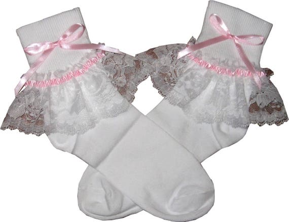 PINK Ribbon Lacy Socks for Adult Little Girl Sissy Boy Unisex Dress up LEANNE