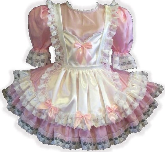 """/""""Molly/"""" CUSTOM FIT Pink Satin Yellow Bows Adult Little Girl Sissy Dress LEANNE"""