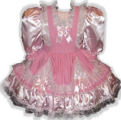 Roxanne Custom Fit Lacy Satin & Adult Gingham Adult & LG Baby Sissy Dress LEANNE 12f4ae