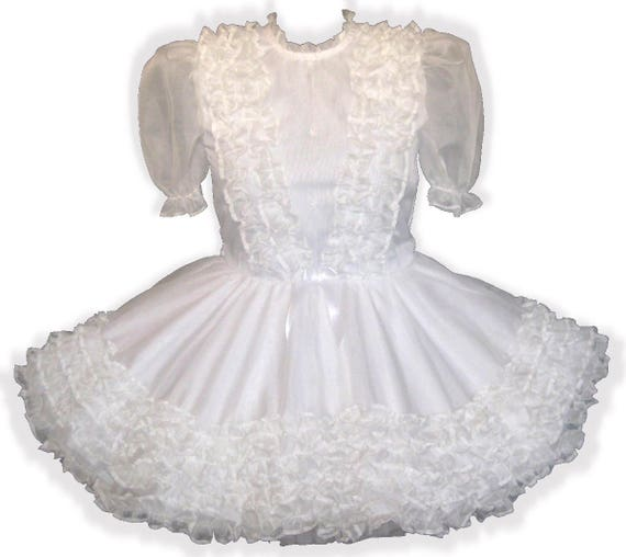 "/""Ramona/"" Custom Fit WHITE ORGANZA RUFFLES Adult LG Baby Sissy Dress LEANNE"