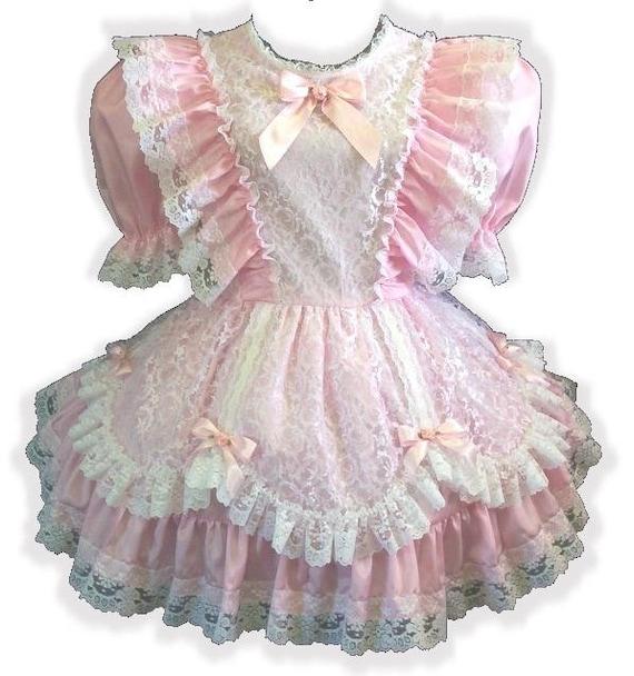 "/""Cheryl/"" Custom Fit PINK SATIN RUFFLES Adult Baby LG Sissy Dress LEANNE"