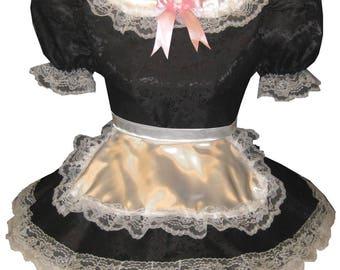Maria CUSTOM Fit Black Satin Apron Adult Little Girl Sissy Maid Dress LEANNE