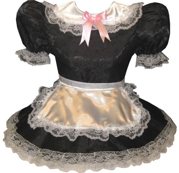 Dress Fit Sissy CUSTOM Apron LEANNE Girl Little Adult Satin Maid Black Maria v5wT88