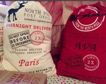 Personalized Santa Sacks, Embroidered Santa Sack, Christmas Gift Bag, Santa Bags, Personalized Stocking, Holiday Gift,