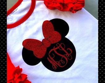 Minnie Mouse Ruffle Raglan, Girls Ruffle Raglan, Girls Monogrammed Shirt, Red Raglan Shirts, Disney Raglan