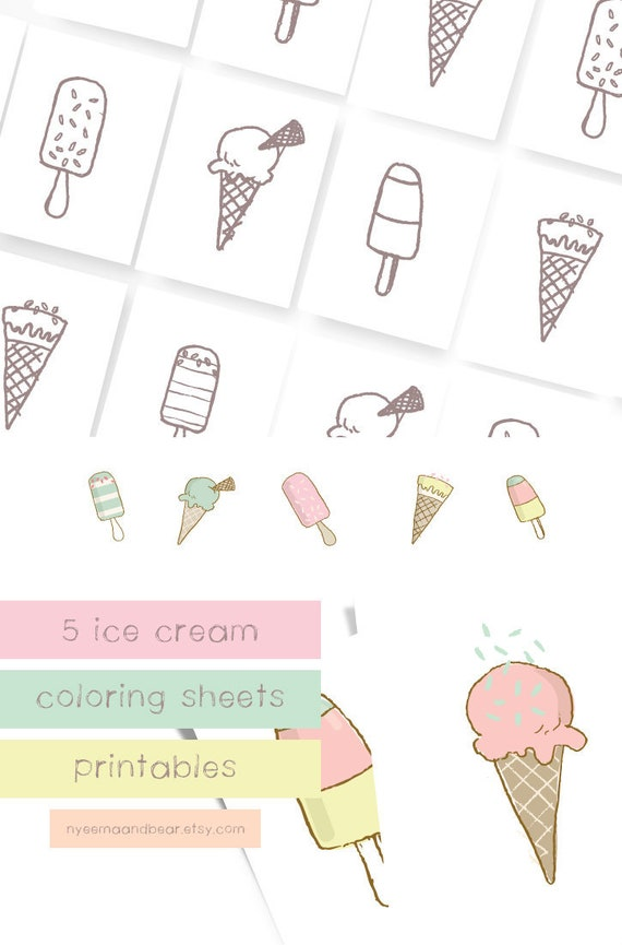 Ice Cream Coloring Sheets Printable Coloring Pages Etsy