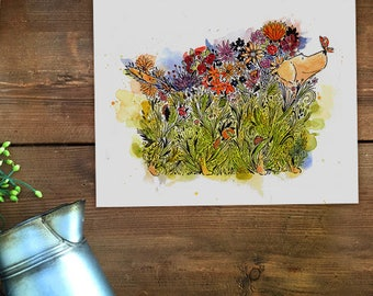 Yellow Dog floral unframed art print illustration by stephen fowler