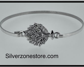 Solid 925 sterling Silver Tree Of Life Bangle Bracelet Comes Gift Boxed