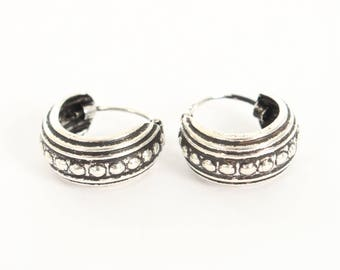 Sterling Silver Small Oxidised Hooped Earrings