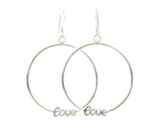 Love Silver Hoop Earrings, sterling silver drop earrings