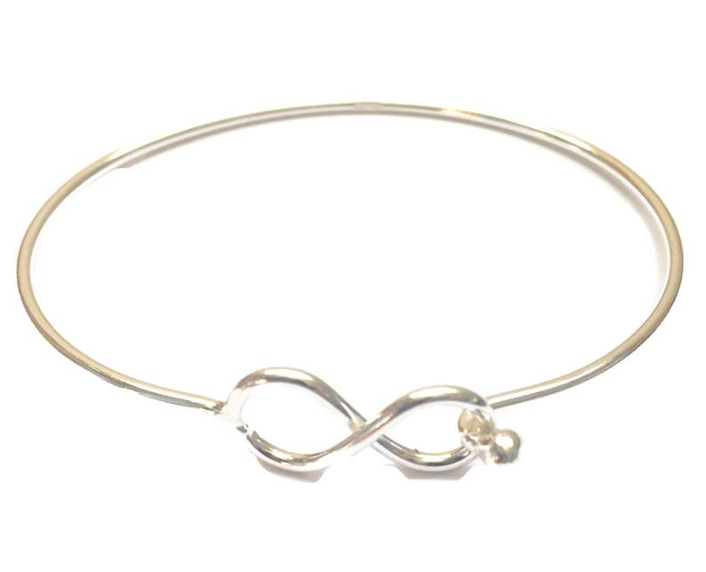 Sterling Silver Wire Infinity Minimalist Bangle.