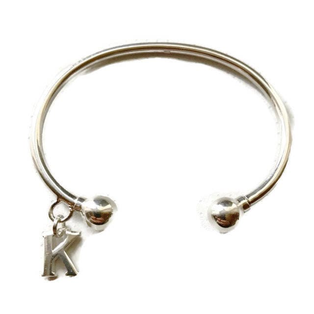 59b38cd07487 A Solid Sterling Silver Handmade Torque Bangle and Alphabet Charm. FREE UK  Posting