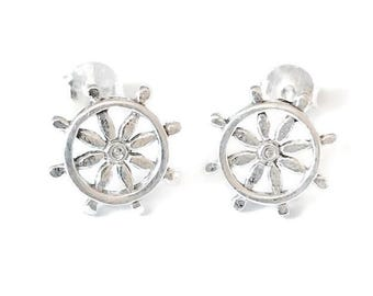 Sterling Silver Ships Wheel Stud Earrings/Highly polished/Gifts/wedding/bridesmaid